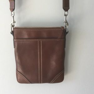 COACH Brown Leather Swing Pouch.